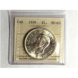1939 Canadian Silver Dollar MS65