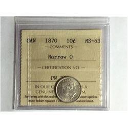 1870 Narrow 0 Canadian 10¢ piece MS63