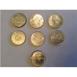 7 Canadian Silver Dollars 1961 to 1967