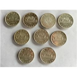 9 Canadian Silver Dollars from 1960's