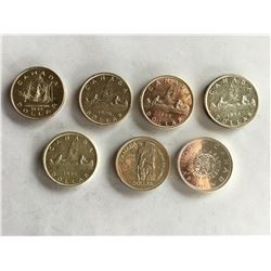 7 Canadian Silver Dollars, 1940's, 1950's, 1960's