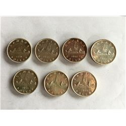 7 Canadian Silver dollars 1950's