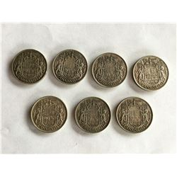 7 Canadian Fifty Cent Coins, Silver with errors