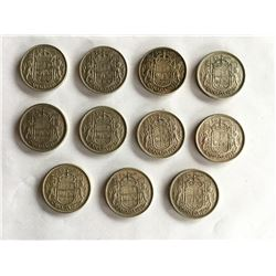 11 Canadian Silver Fifty Cent Coins, Included 1953 LD NSF