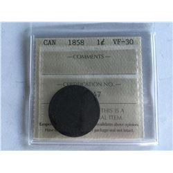 ICCS Certified Large Canadian Cent 1858 VF30