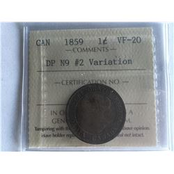 ICCS Certified Large Canadian Cent 1859 VF20