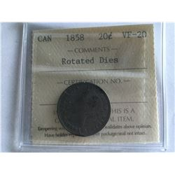 1858 ICCS Certified 20¢ Silver Coin Rotated Dies VF20