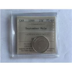 1999 ICCS Canadian 25¢ Coin September Mule PL64