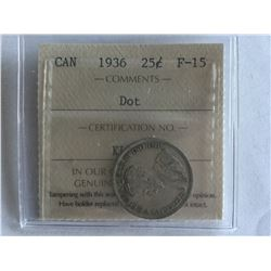 1936 Dot ICCS Canadian 25¢ coin F15