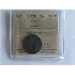 1872H ICCS Canadian 25¢ coin Obverse 2 - EF40