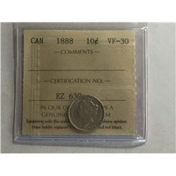 1888 ICCS Canadian 10¢ Silver Coin VF30