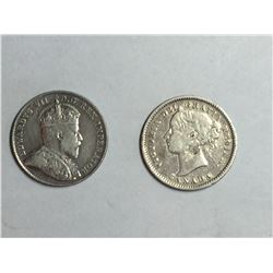 1901 & 1910 Canadian Silver 10¢  coins