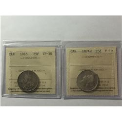 1874H & 1916 ICCS Canadian 25¢  silver Coins F12 - VF30