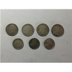 Seven Canadian Coins Silver 5¢ & 10¢