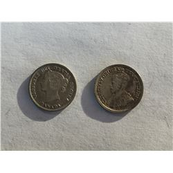 1893 & 1919 Canadian Silver 5¢ Coins, Victoria and George V