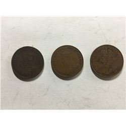 3 Consecutive 1920's Canadian 1¢ coins