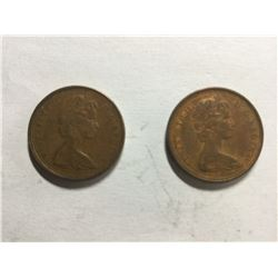 2 Canadian 1¢ Variety 1965 coins