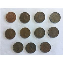 11 Canadian 1¢ Variety 1940's, 1950's, 1960's 1980's