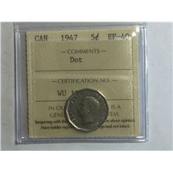 1947 ICCS Canadian 5¢ Dot Variety EF40