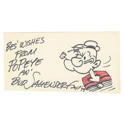 "Bud Sagendorf Signed ""Popeye"" Drawing."