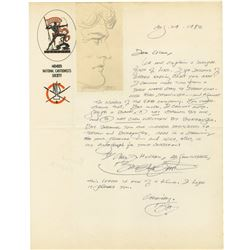 "Burne Hogarth Signed ""Tarzan"" Drawing and Letter."