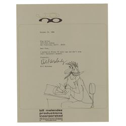 Bill Melendez Signed Letter with Original Drawing.