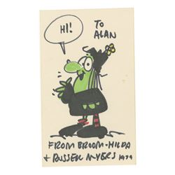 """Signed """"Broom-Hilda"""" Drawing by Russell Myers."""