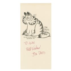 """""""Garfield"""" Fan Card Signed by Jim Davis."""