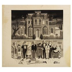 """""""Murder by Death"""" Poster Artwork by Charles Addams."""
