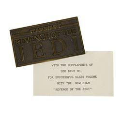 """Revenge of the Jedi"" Brass Paperweight."