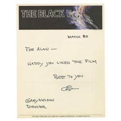 """The Black Hole"" Letterhead Signed by Gary Nelson."