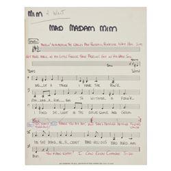 """""""Mad Madam Mim""""  Original Vocal Lead Sheet with Notes."""