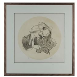 "Al Hirschfeld Signed ""Hepburn and Tracy"" Etching."