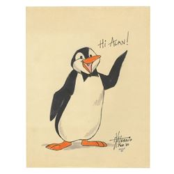 """Mary Poppins"" Penguin Drawing Signed by X. Atencio."