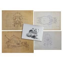 "Set of (15) ""Willy Wonka"" Harper Goff Concept Prints."