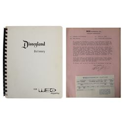 "WED Imagineering ""Disneyland Dictionary"" & Letter."