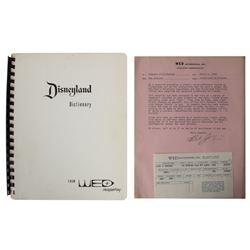 "WED Imagineering ""Disneyland Dictionary"" & Letter."