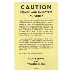 Disneyland Employee Strike Flyer.