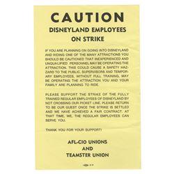 Disneyland Employee Strike Flyer.