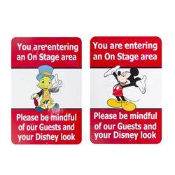 Pair of Mickey & Jiminy Cricket Cast Member Signs.