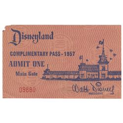 1957 Disneyland Complimentary Admission Pass.