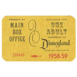 1958 Complimentary Disneyland Admission Pass.