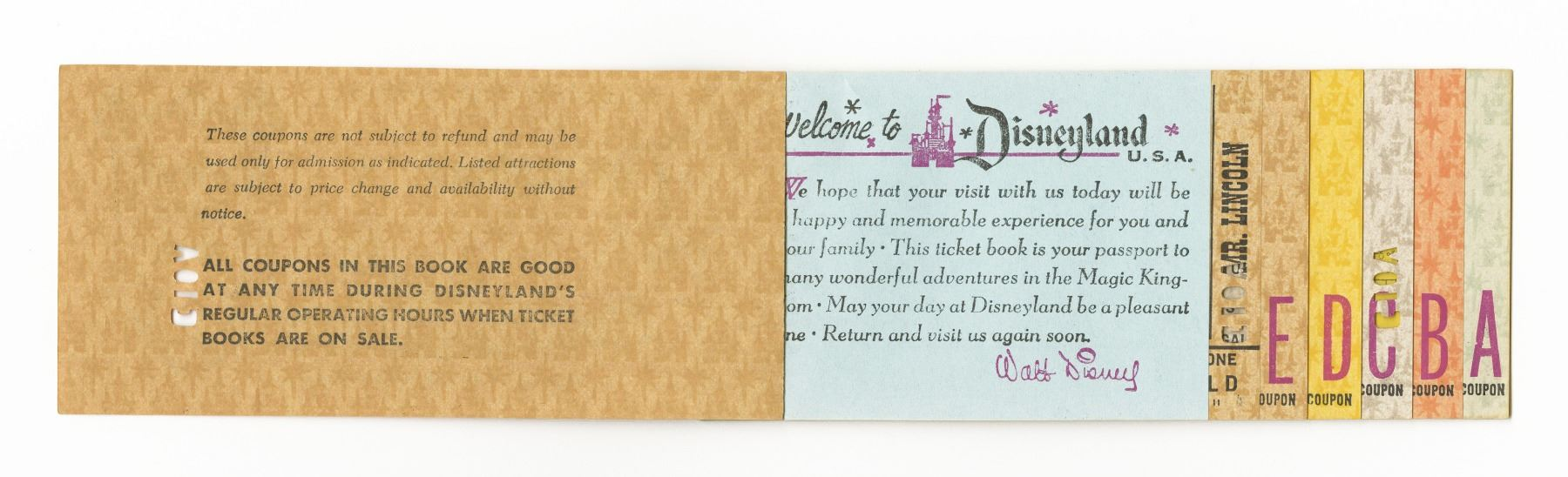 "Disneyland Child's ""Special Guest"" Ticket Book."