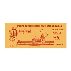 Disneyland Special Complimentary Admission Ticket.