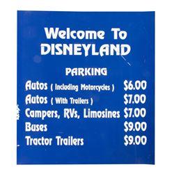 Disneyland Magnetic Parking Rate Sign.