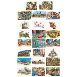 Collection of (23) Disneyland Concept Art Postcards.