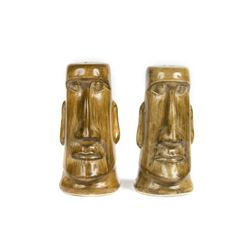 Pair of Adventure Moa Tiki Salt & Pepper Shakers.