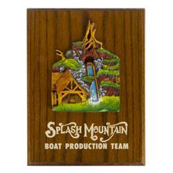 """Splash Mountain"" Boat Production Team Plaque."