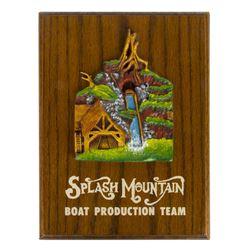 """Splash Mountain"" Boat Production Team Plaque."
