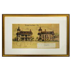 """Haunted Mansion"" Elevations Sam McKim Signed Print."